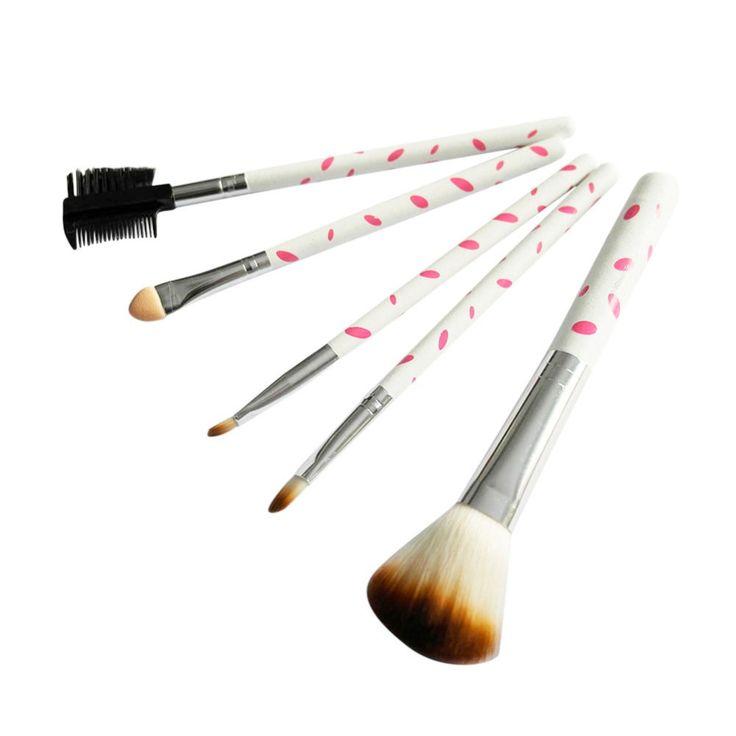 Maquillaje Rubor Herramientas Cepillos Cosmético del Cepillo de Sombra de Ojos de Leopardo Lipstic 5 Unids