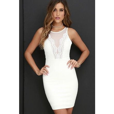 Coquina White Lace Bodycon Dress