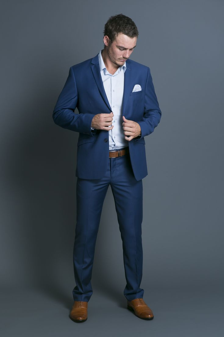 Clearly, our colors are blue, grey, and yellow. A variation of blue is totally fine, especially if you already something in your closet that you think is apropos-- A little lighter, a little darker (tho probably not a dark navy). Kingston Electric Blue Suit