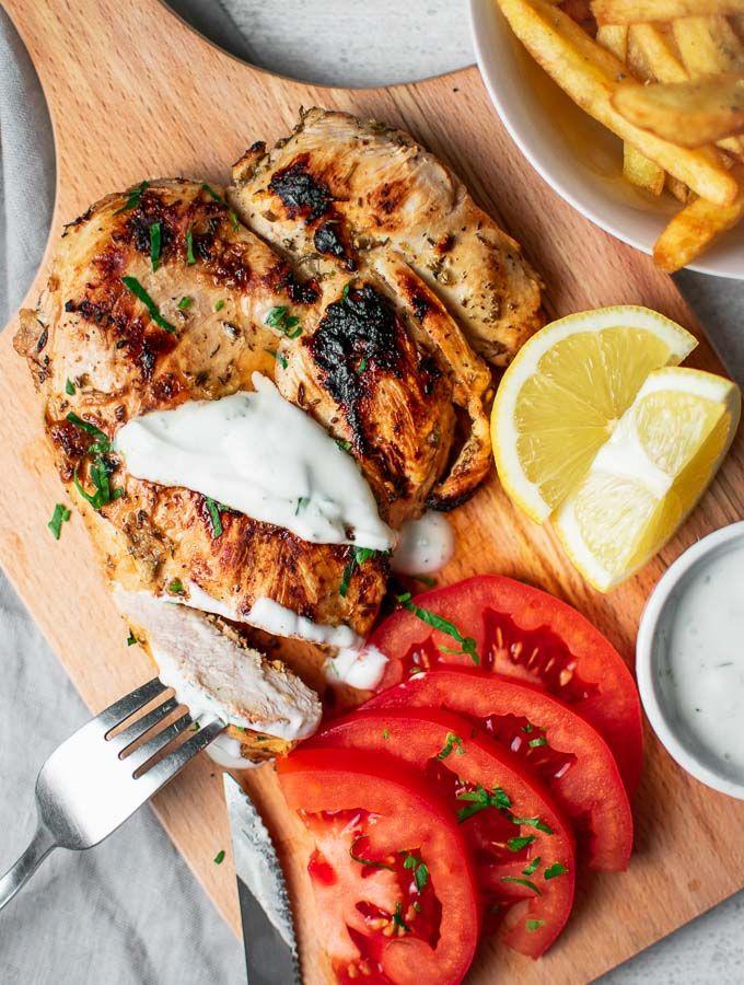 Grilled Chicken With Yogurt Sauce Greek Fries Real Greek Recipes Recipe Greek Recipes Yogurt Chicken Food