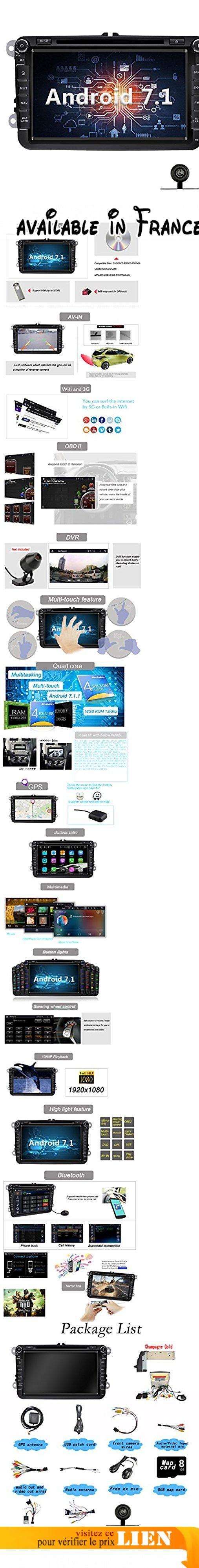 YINUO 8 pouces 2 Din Android 7.1.1 Nougat 2GB RAM Quad Core écran tactile Autoradio gps Lecteur de DVD GPS Navigation gps avec Bluetooth 7 Couleurs Button illumination Autoradio pour VW/SKODA Golf Polo Jetta Passat Touran support DAB OBD2 WiFi (Autoradio avec Caméra arrière 1). Pour Jetta ( 2010- 2013), Jetta SportWagen ( 2006- 2013), Jetta GLI ( 2006- 2013), Jetta Turbo Hybrid ( 2013), Golf GTI ( 2010- 2012), Golf R ( 2010- 2013), Golf Estate ( 2009- 2012), Golf Wagon