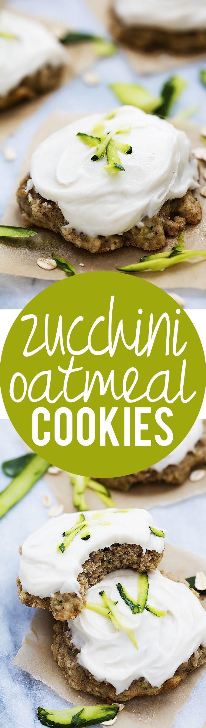 Zucchini Oatmeal Cookies with Cream Cheese Frosting | Creme de la Crumb