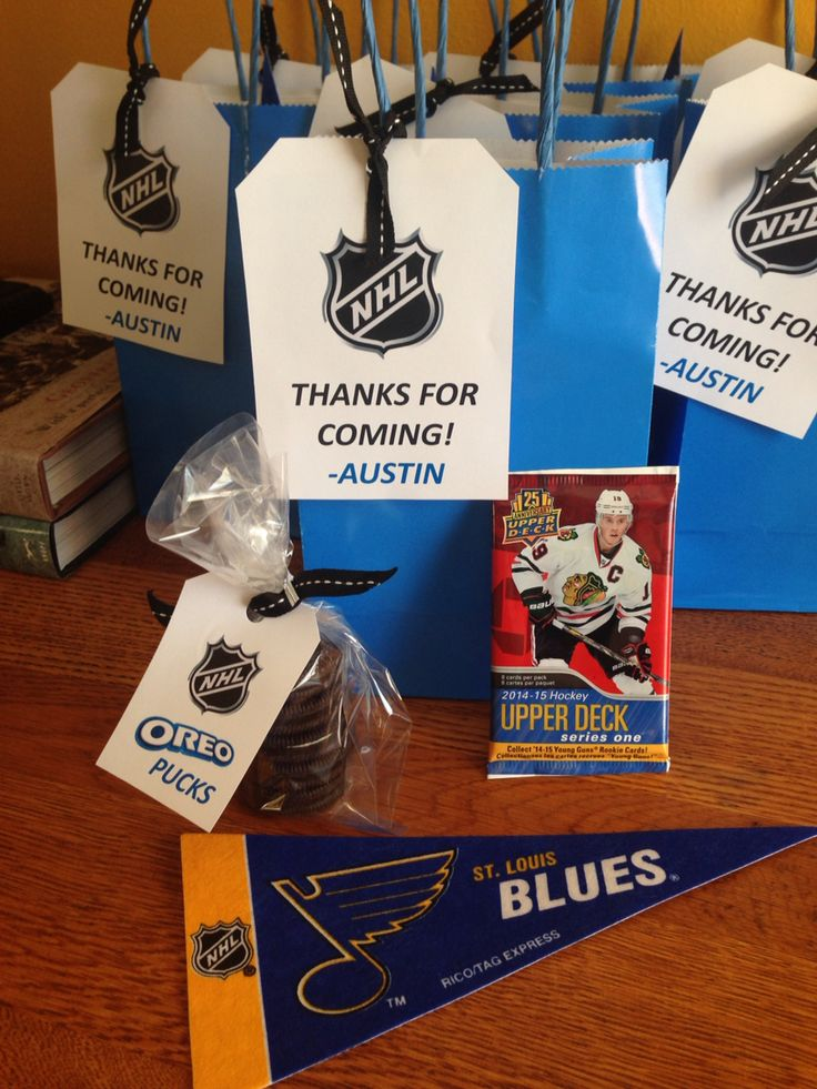 Hockey Party treat bags - pennant, hockey cards & Oreo pucks