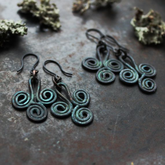 Bronze Age Priestess earrings: Rustic triple spiral by solekoru
