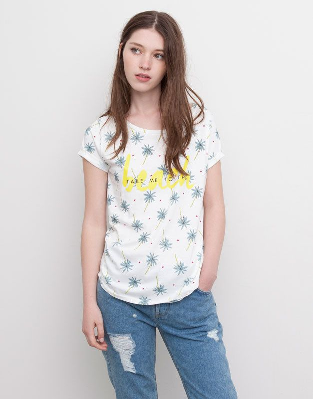 Pull bear woman t shirts and tops beach t shirt for Bear river workwear shirts