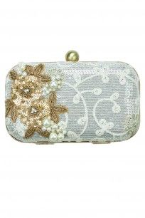 5 Elements Ivory embellished chikankari clutch