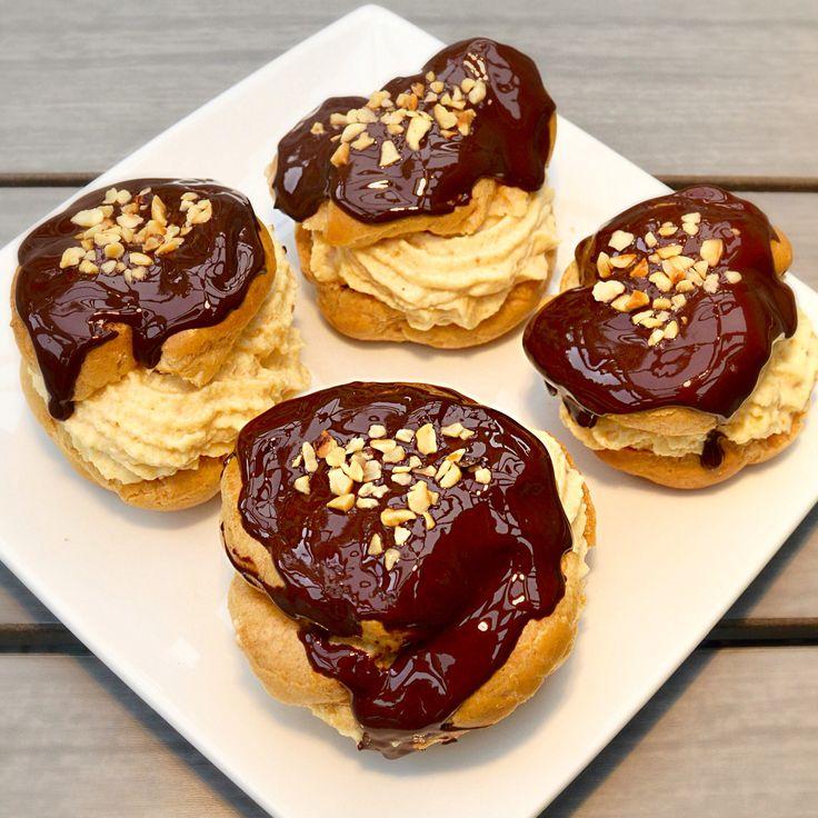Hazelnut Praline Profiteroles, such a delicious dessert. The recipe is ...