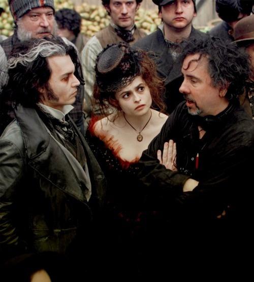 Johnny Depp, Helena Bonham Carter and Tim Burton