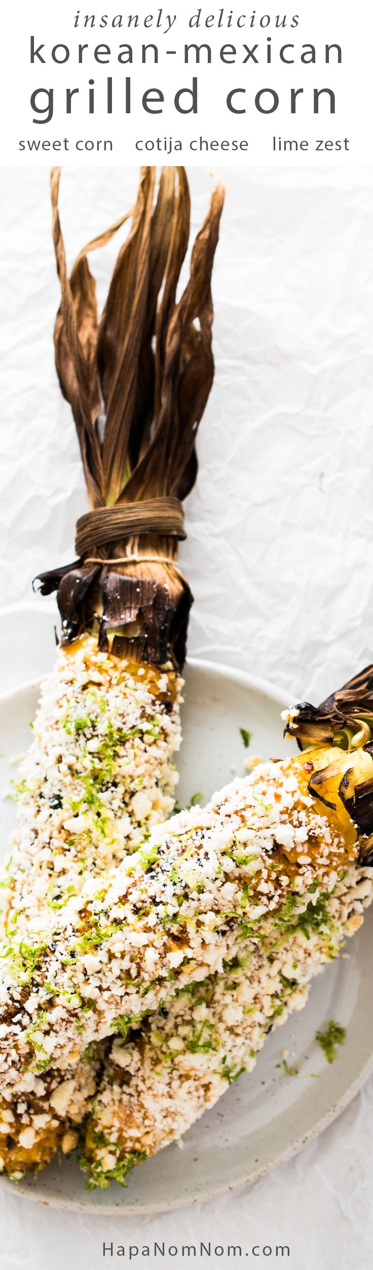 The spicy umami flavor of the gochujang, paired with the sweet corn, zesty lime, and salty cotija cheese make this Korean-Mexican Grilled Corn INSANELY delicious!