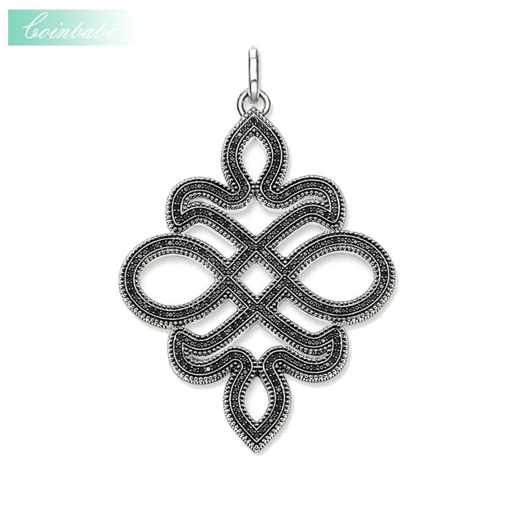 Pendant Large Love Knot Black For Women Men Trendy 925 Sterling Silver Gift  Thomas Style Glam Jewelry Pendants Fit Ts Necklace