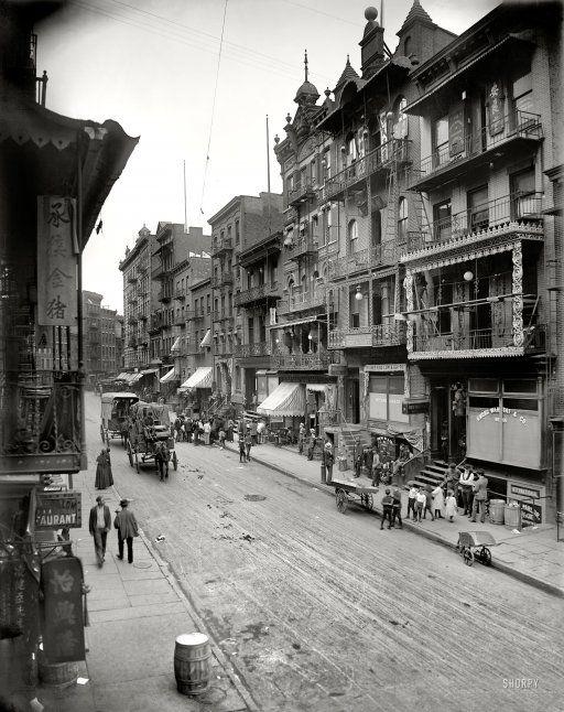 """New York c. 1900.  """"Chinatown--Mott Street."""""""