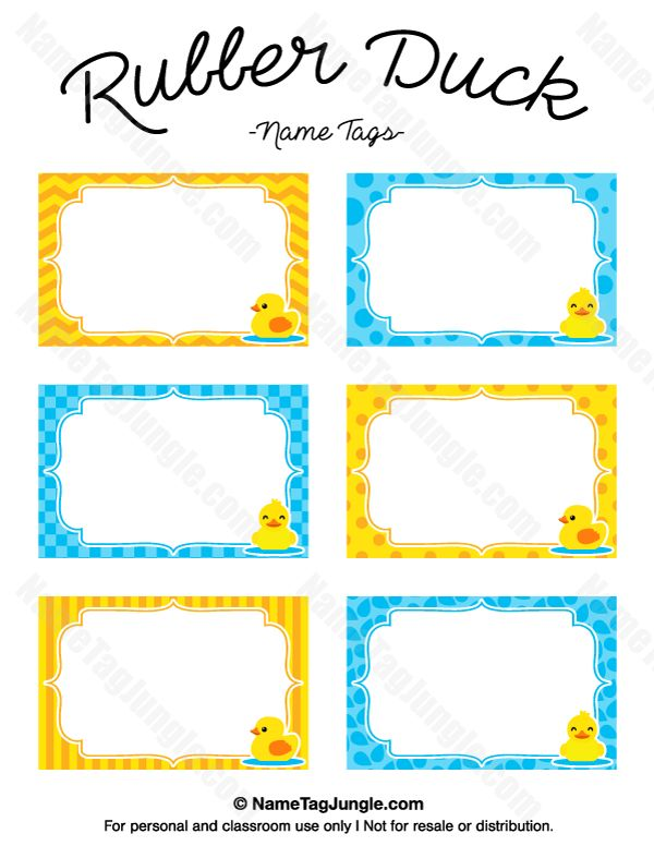 Rubber Duck Name Tags