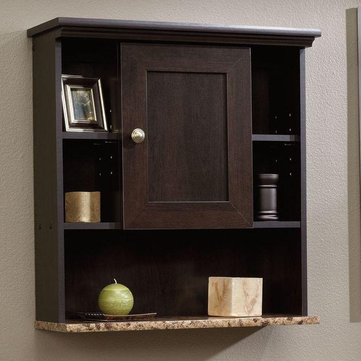 Bathroom Medicine Cabinet Wall Mount Organizer Faux Granite Shelf Wood Espresso #SauderFurniture #Traditional