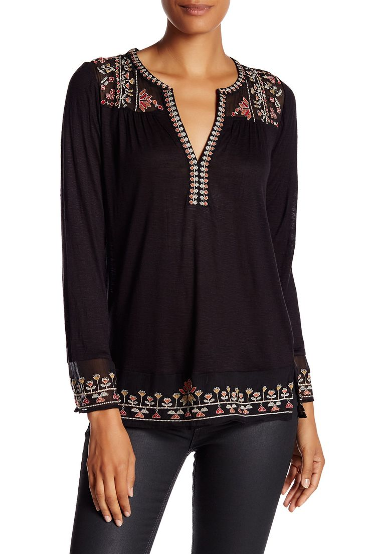 Pretty Black Lucky Brand Embroidered Slub Knit Blouse