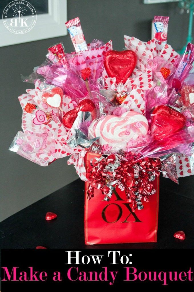 Valentines Day Gifts : How to create a candy bouquet arrangement ...