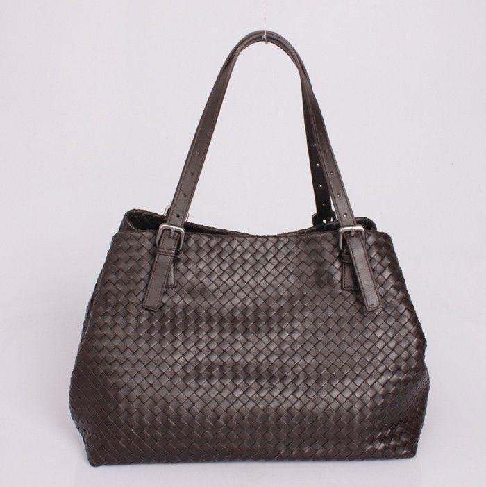 Кожаная сумка Bottega Veneta Intrecciato, коричневый цвет. Размер 35х29х20см #19488