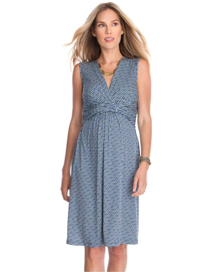 Blue Printed Maternity & Nursing Dress