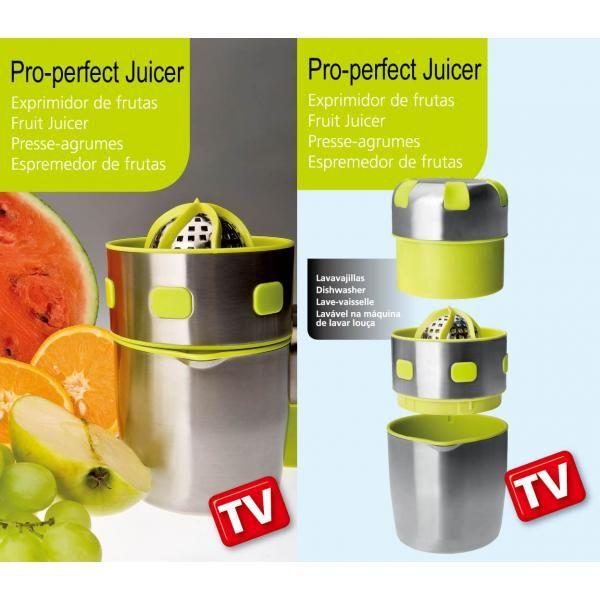 Fabricado en acero inoxidable el exprimidor manual Pro Perfect Juicer | Teletienda TV le permitirá extraer el zumo de prácticamente cualquier fruta en solo unos segundos. Simplemente ponga la fruta en el puño y gire. No es necesario hacer mucha presión. Con el exprimidor Pro Perfect Juicer el zumo cae directamente en el vaso por lo que no hay que ensuciar mas utensilios. Es fácil, rápido y práctico y puede incluso extraer zumo de verduras.  Acero inoxidable   ABS de alta calidad   forma ...