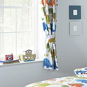 "Children's Dinosaur 72"" Drop Lined Curtains - Including Matching Tie Backs (White, Orange, Green, Blue): Amazon.co.uk: Kitchen & Home"