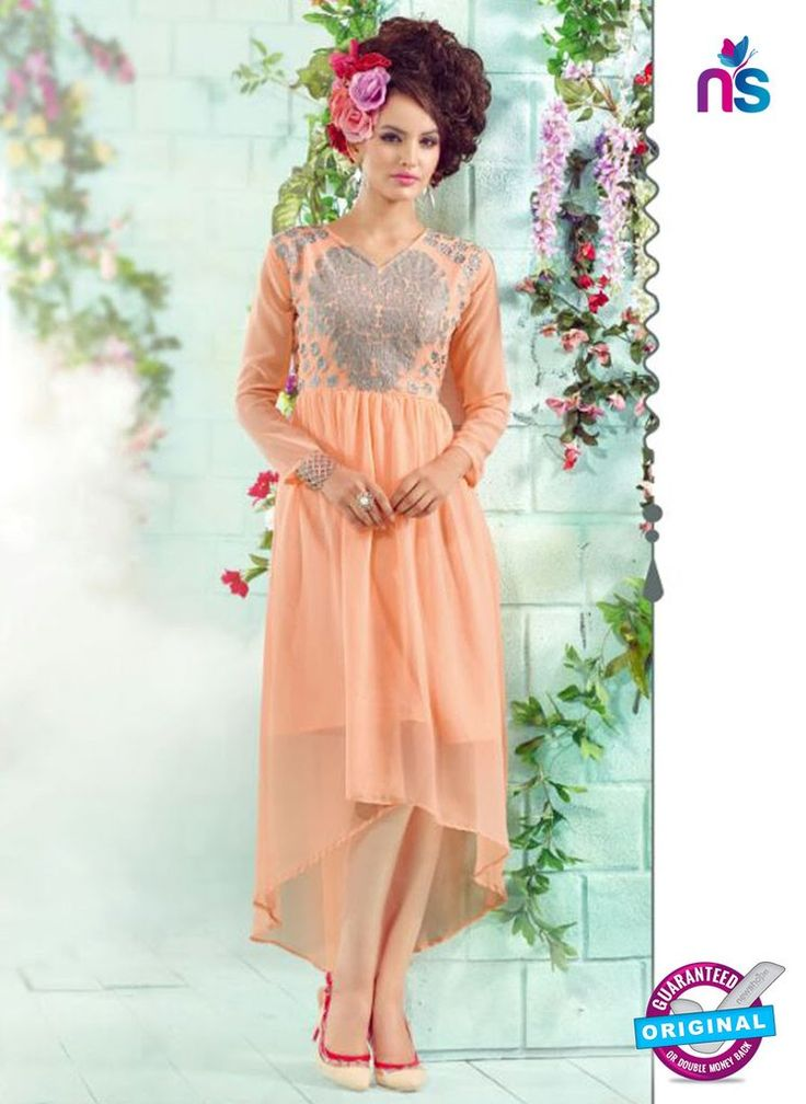 SC 12999 Peach Embroidered Georgette Party Wear Stitched Tunic