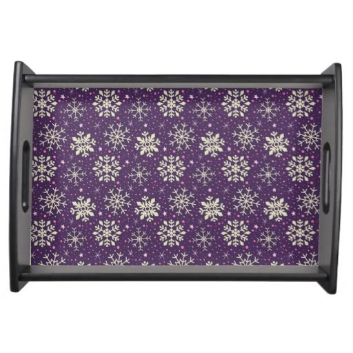 Boysenberry Purple & White Snowflake Pattern Serving Tray. Designed by Kristy Kate www.kristykate.com.