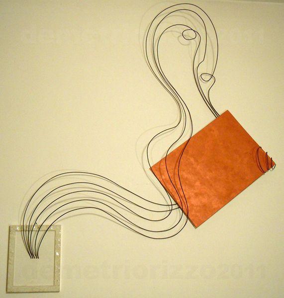 Wire sculpture by Demetrio Rizzo: Il viaggiatore - 2012 - wire & canvas - Size: 125x125x20cm