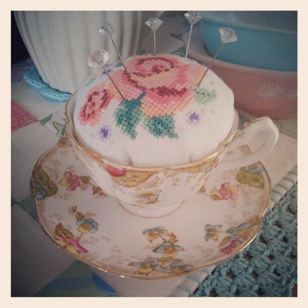 cross stitch rose vintage teacup pincushion by Betsy Makes
