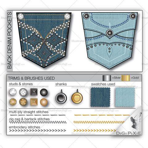 Back Denim Pocket Design Templates