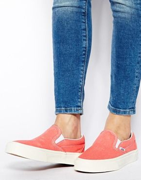 Vans Hot Coral Classic Slip On Trainers