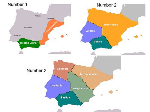 5 Roman Provinces evolution in Iberia Peninsula. Number 1 and 2, below is Number 3 -    Here we can see 3 maps   Number 1: First Roman Provinces from 197 to 133 before Chirst, in Roman Republic Number 2: First Provincial Division lead...