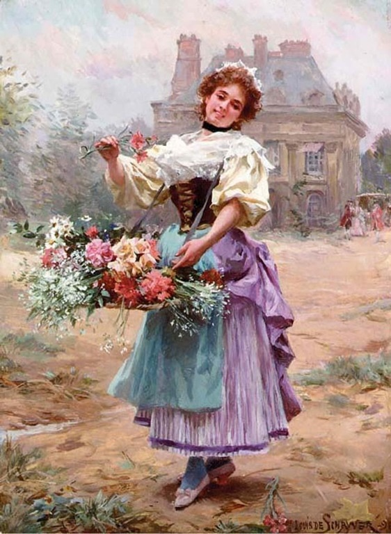 Louis  Marie de Schryver (french, 1862-1942) - The flower girl
