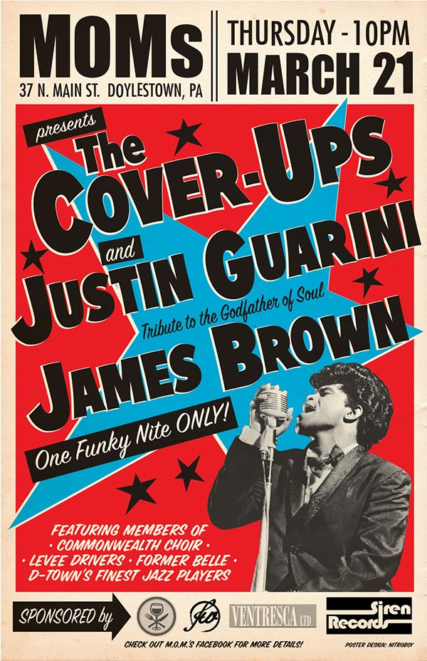 Poster design for a James Brown tribute show featuring Justin Guarini!