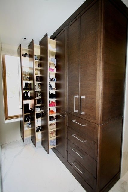 : Awesome Contemporary Closet With Shoe Cabinet Using Wooden Accents Connected With Wooden Dresser On White Floor