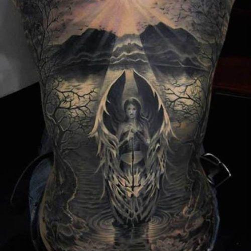 Angel Back Tattoo For Men
