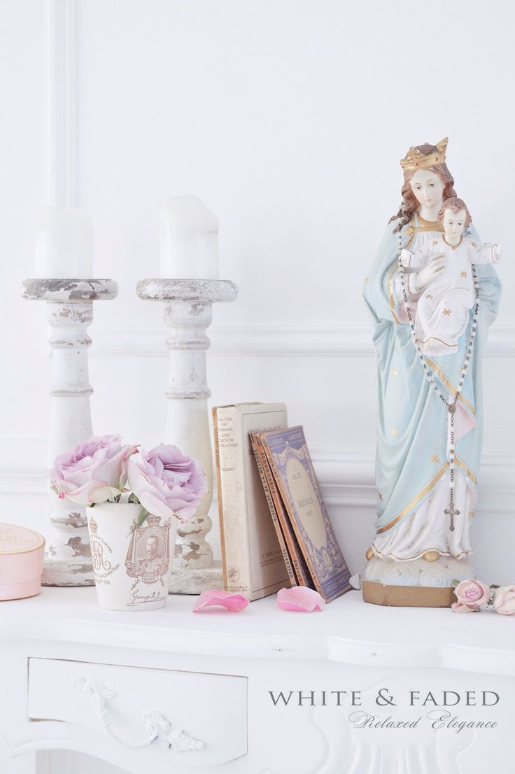 Vintage Blessed Mother Mary Statue with Her Baby Jesus