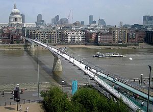 Take a walk over Millennium Bridge. It's a great way to view London and the River Thames. On the northside, it's near St. Paul's Cathedral. On the southside it's near the Tate Modern and Shakespeare's Globe Theater.