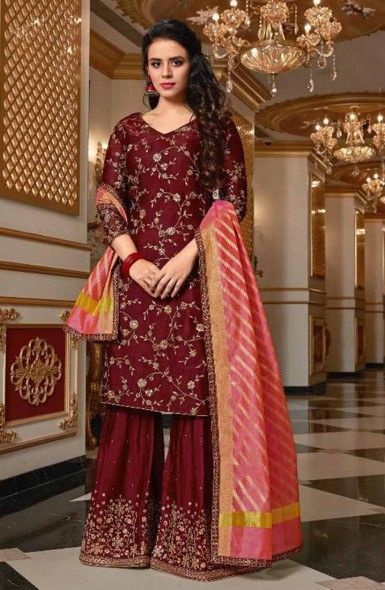 770254ff1a Pin by Kesari Exports on Sharara Suits in 2019 | Silk anarkali suits, Anarkali  suits, Dress trousers