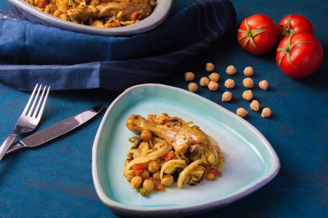 طريقة عمل طاجن الدجاج بالحمص بالمقادير وخطوات التحضير والفيديو والصور Recipe Recipes Food Chicken