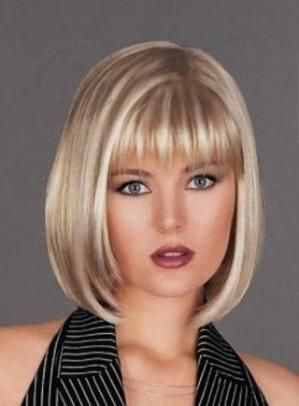 100% Real Human Hair Medium Straight Blonde about 10 Inches Bob Hairstyle Wig by BellTaby #bobsforthinhair