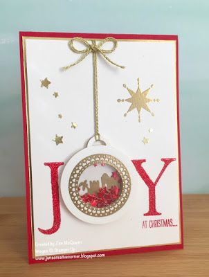 Christmas card made with Stampin Up's Joyful Nativity, Merriest Wishes, Star of…