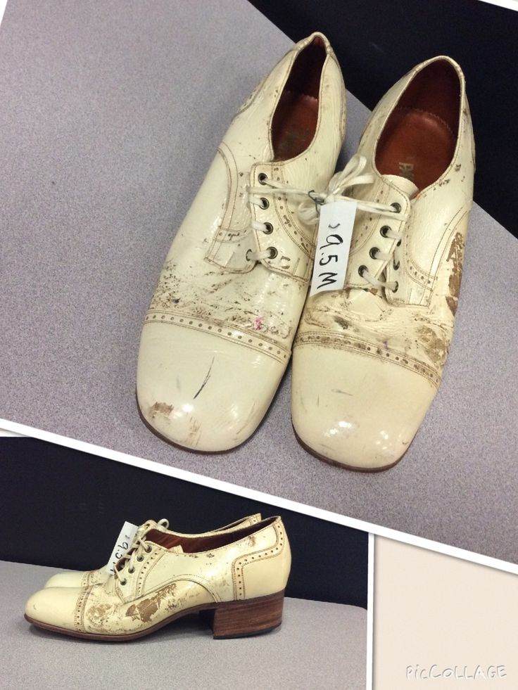 Cream colored side-saddle. Men's size - 9.5 Condition: distressed Time period: 1930 - 1940