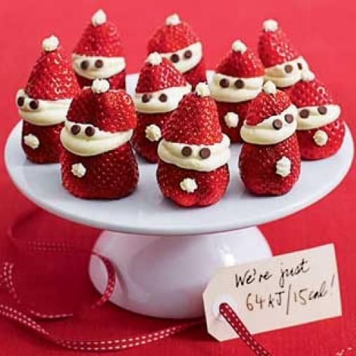 Aren't they cute? Santa made with strawberries. Strawberry Santas | Australian Healthy Food Guide