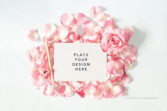 Pink rose petal Card Mockup by Citrus and Cinnamon on Creative Market