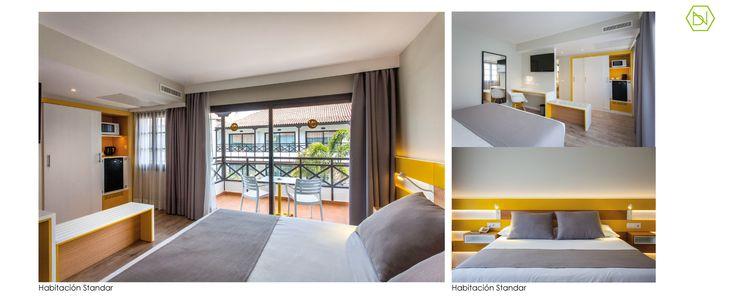 www.bn-arquitectos.com Habitación standard Amarilla. Reforma Hotel Vanilla Garden. Tenerife Yellow standard room. Refurbishment  Vanilla Garden Hotel. Tenerife. #Hotel #refurbishment #reforma #arquitectos #interiorismo #diseñodeinteriores #interiores #tropical #amarillo #tenerife #bnarquitectos