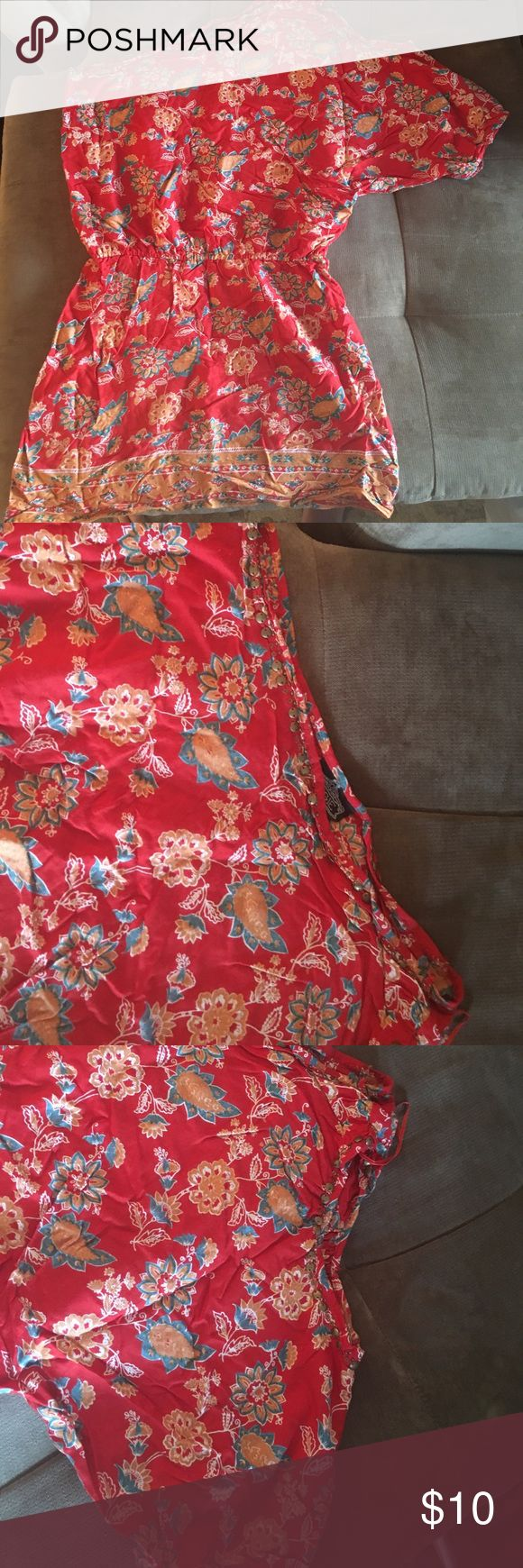 Super cute tomato red sundress Gold bead accents on neck and shoulder. Worn once for a wedding in the Bahamas. Looked great with gold espadrilles. Can also be used as a bathing suit cover up. Angie Dresses One Shoulder