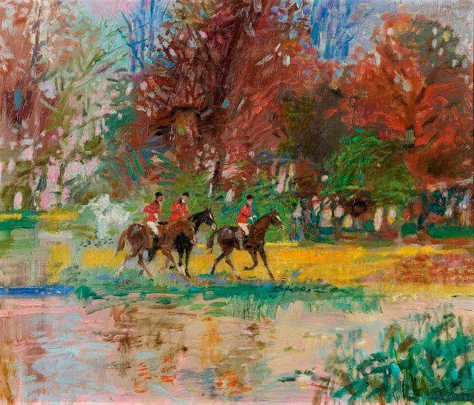 """Jan Szancenbach (1928-1998, Polish artist) """"Jesienna przejażdżka/Autumn drive"""""""