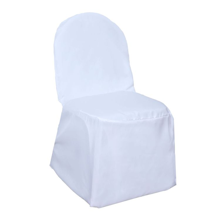 75 White POLYESTER BANQUET CHAIR COVERS Wholesale Wedding Party Decorations