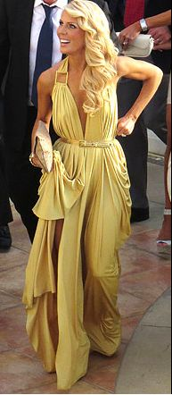 Gretchen Rossi's GORG yellow gown at Tamra Barney's Wedding DETAILS: http://www.bigblondehair.com/real-housewives/rhoc/gretchen-rossis-yellow-dress-at-tamras-wedding/