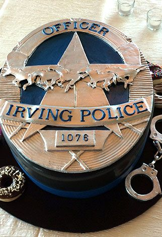 An Irving Police badge shaped cake