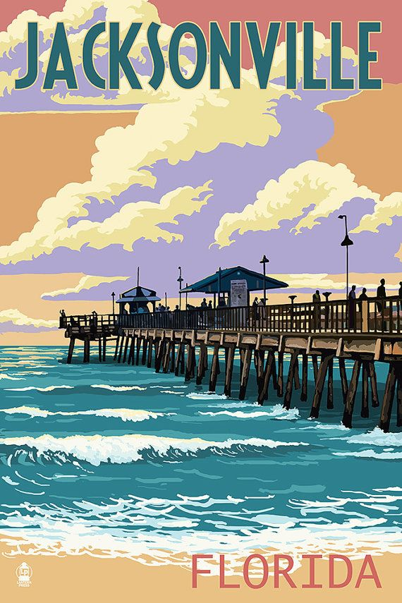 Jacksonville, Florida - Pier and Sunset (Art Prints available in multiple sizes)